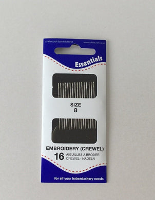 Embroidery Needles (Crewel) Hand sewing Size 8 Essentials