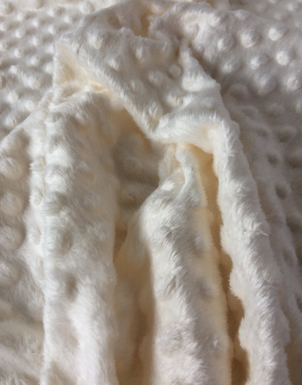 Ivory / Cream Dimple Fleece Fabric,  Popcorn Supersoft Fleece.