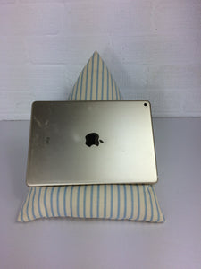 Light Blue Striped Tablet or iPad Holder,  Bean Bag Cushion