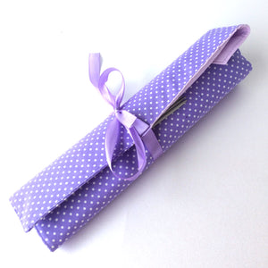 Lilac spotted knitting needle roll or crochet hook roll