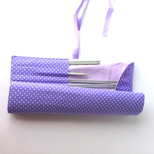 Load image into Gallery viewer, Lilac spotted knitting needle roll or crochet hook roll