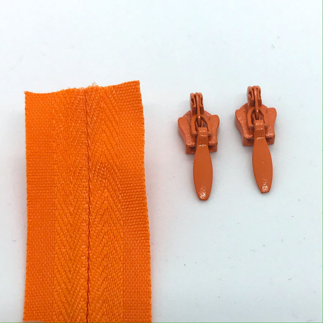 Orange Continuous Zipper Roll, Invisible / concealed, Size 3