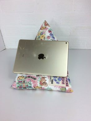 Pink Gardening Theme Tablet or iPad Holder,  Bean Bag Cushion
