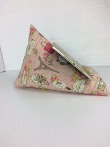 Pink Paris Themed Tablet or iPad Holder,  Bean Bag Cushion