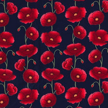 Load image into Gallery viewer, Poppy Fabric on Navy Background