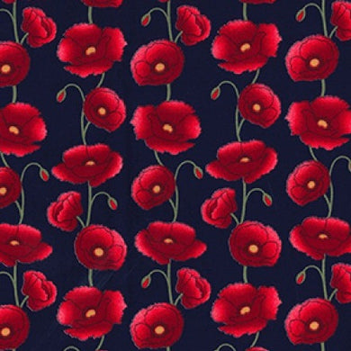 Poppy Cotton Fabric on Navy Background