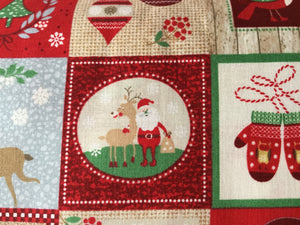 Red squares with Festive theme cotton Background Cotton Fabric
