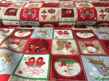 Load image into Gallery viewer, Red squares with Festive theme cotton Background Cotton Fabric