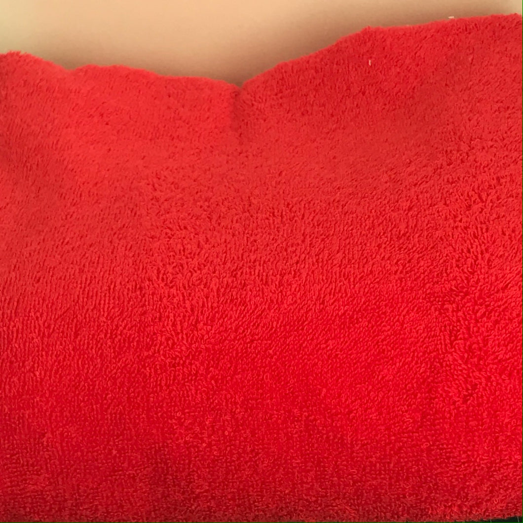 Red terry toweling fabric 100% cotton and double sided