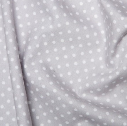 Silver grey spotted Cotton Fabric, Tiny Spots cotton fabric