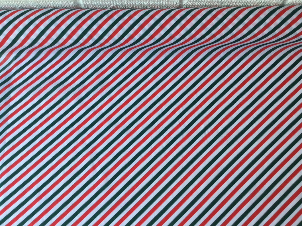 Striped larger Christmas Polycotton fabric