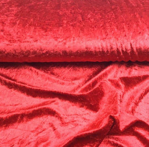 Red Velour, Crushed Velvet Velour - Stretchy