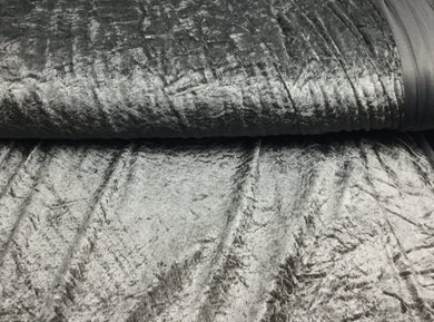 Grey / Silver Velour, Crushed Velvet Velour - Stretchy