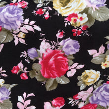 Load image into Gallery viewer, Black Floral Viscose Fabric