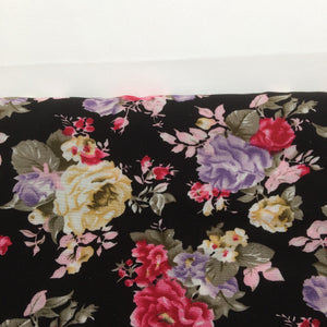 Black Floral Viscose Fabric