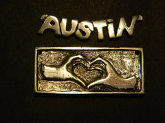 "18"" Sterling Silver Love Necklace w/Austin"