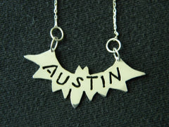 "Handmade Sterling Silver ""AUSTIN""  Bat Necklace"