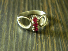 Sterling Silver Laboratory Made  Ruby Ring