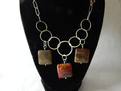 Sterling Silver & Jasper Necklace