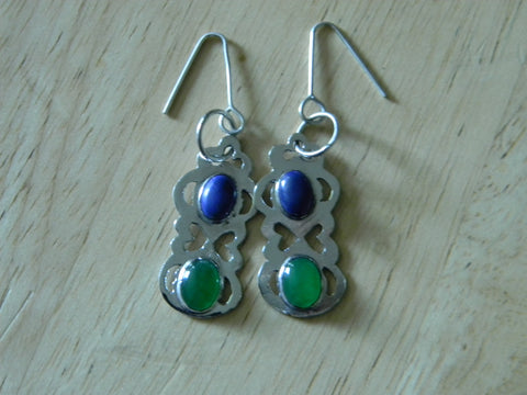 Sterling Silver Agate and Lapis Howlite Earrings