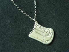 "18 "" Sterling Silver Boots Necklace (1.5 X 1"" approx.)"