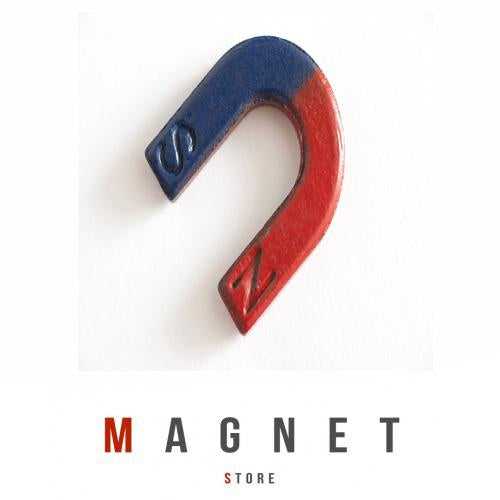Horse Shoe Magnet U30x29x6mm Mark NS with red& Blue