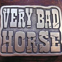 VERY BAD HORSE ~ belt buckle ~ antique brass