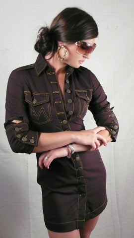 motor shirt dress: black chocolate