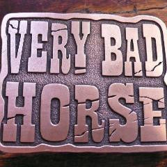 VERY BAD HORSE ~ belt buckle ~ antique copper