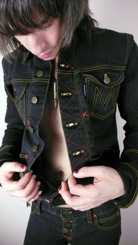 MOTOR: unisex signature denim jacket jet black stretch denim
