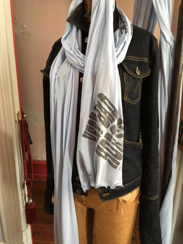 SKY BLUE  GRAY SCARVE/ PRINT 'VERY BAD HORSE FISHTOWN 100%  COTTON SUPER LONG