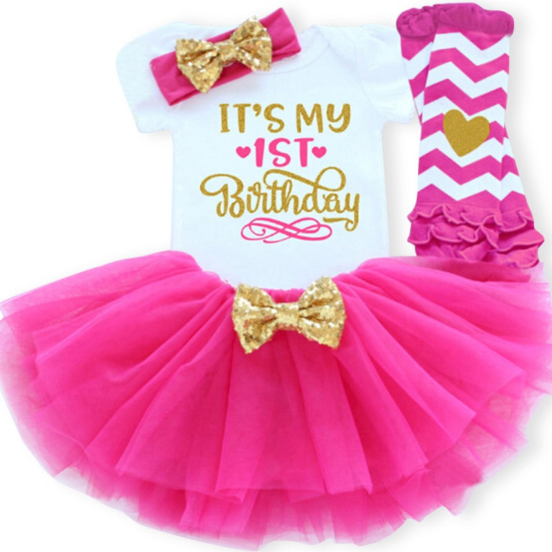 00451efb95c8c 1 Year Girl Baby Birthday Dress Summer New Cotton Kids Baby Clothes First  1st Birthday Christening Dresses For Toddler Girls