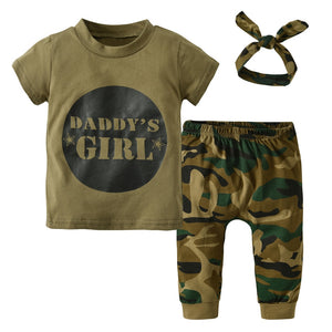 b8ef29bdaad95 3Pcs Summer Newborn Toddler Army Green Baby Boys Girls Clothes Letter T- shirt Tops Camouflage Pants+Headband Infant Outfits Set