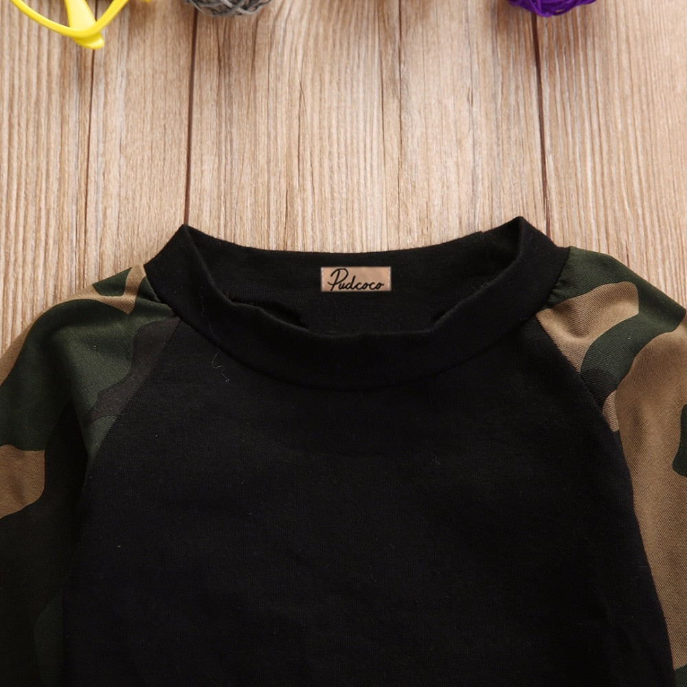 1396c1336 ... Load image into Gallery viewer, Army Camouflage Baby Boy Girl Set Long  Sleeve Top Newborn