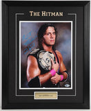Bret Hart (Championship Belt) Framed and Autographed 8 by 10 (Beckett)
