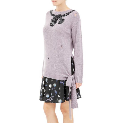 SIDE TIE LS SWEATER W/ BOW