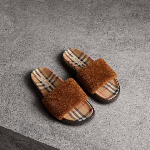 Papuci de piele Shearling And Vintage Check Kencot Burberry