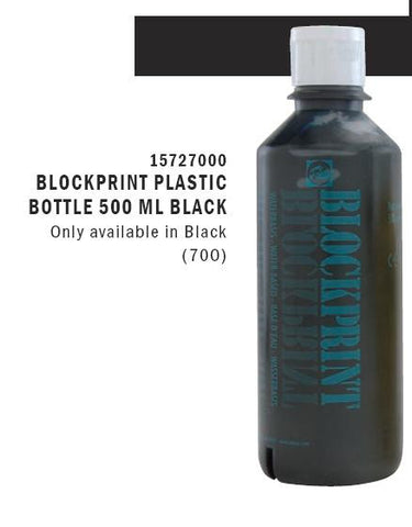 15727000 BLOCKPRINT (WATER) PLASTIC BOTTLE 500 ML BLACK Only available in Black (700)