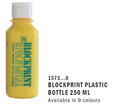 "1573...0 BLOCKPRINT ""WATER"" PLASTIC BOTTLE 250 ML (Available in 9 colours)"