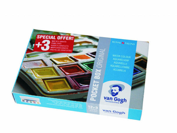 Van Gogh water color plastic pocket box, special offer 12+3 half pans 20808628