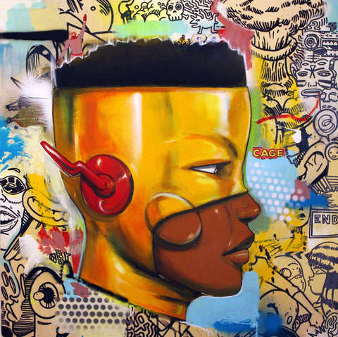 Mixed Media, Drawing On Wood - Hebru Brantley