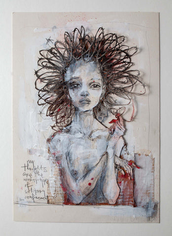 "Mixed Media - Hera ""My Thoughts Are The Worst Type Of Solitary Confinement"""