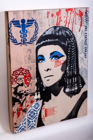 Mixed Media Stencil On Wood - Brad Novak