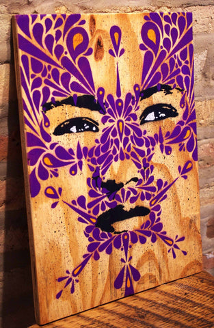 Mixed Media Stencil On Wood - Stinkfish