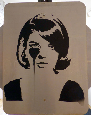 Spray Paint Stencil On Mixed Media - Pure Evil