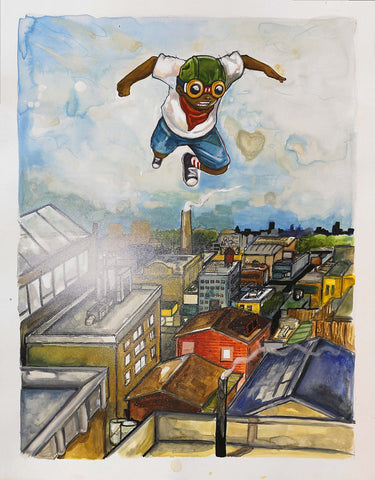 Watercolor On Paper - Hebru Brantley