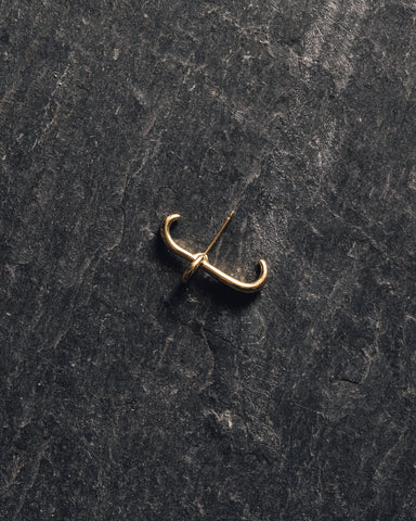 Knobbly Link Link Earring, Gold