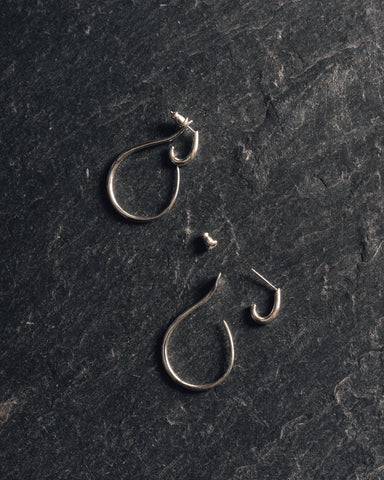 Knobbly Gal Hoops, Silver