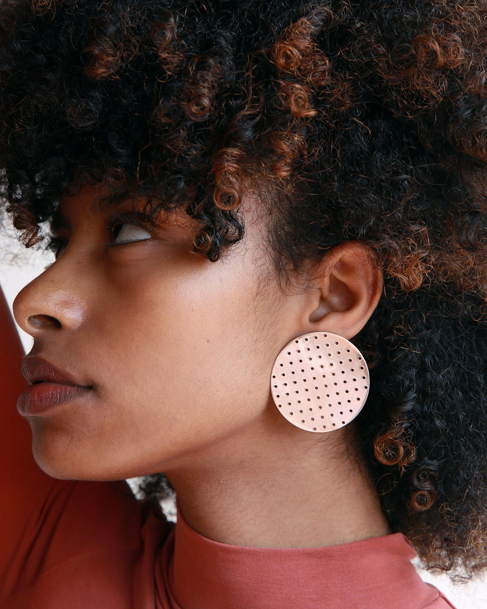 Minoux Bronze Perforated Disc Earrings