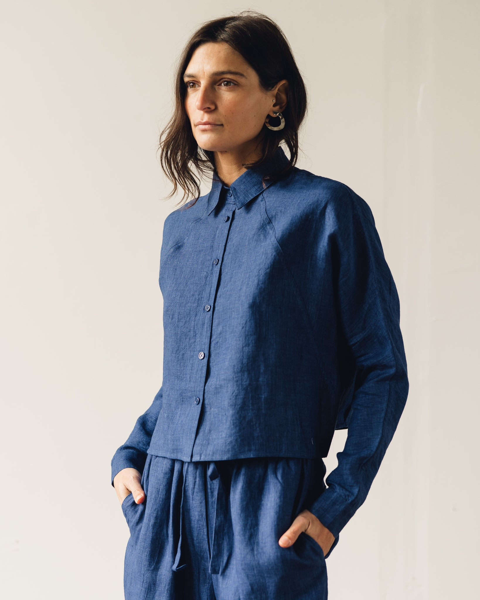 7115 3/4 Cropped Shirt Jacket, Indigo